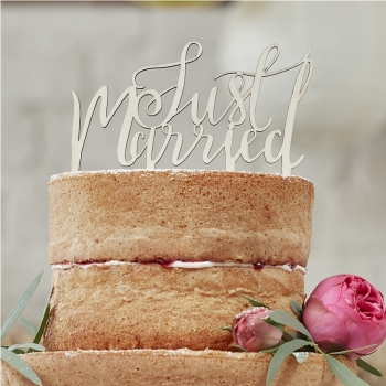 Cake Topper Just Married Holz